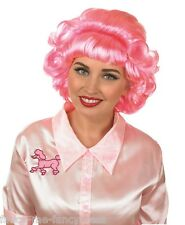 Ladies 1950s 50s Short Pink Curly Wig Film Fancy Dress Costume Outfit Accessory