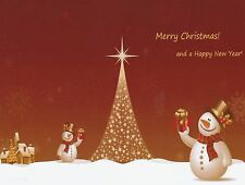 "*Postcard-""Merry Christmas & Happy New Year"" /Snowman & Big Tree""  (B-163)"