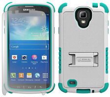 TURQUOISE BLUE WHITE TRI-SHIELD CASE STAND FOR SAMSUNG GALAXY S4 ACTIVE i537
