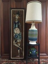 Vintage MID CENTURY Modern TABLE LAMP Blue & Green RETRO BEACH Signed FORTUNE