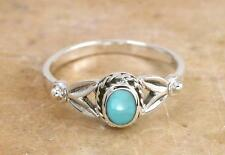 PRETTY STERLING SILVER REAL TURQUOISE RING size 8  style# r0856