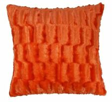 "2 X LUXURIOUS BRIGHT ORANGE THICK FAUX FUR SUPERSOFT CUSHION COVERS 17"" - 43CM"