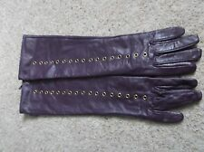 LUXURY CORDER LONDON LONG LENGTH PURPLE REAL LEATHER GLOVES Size S