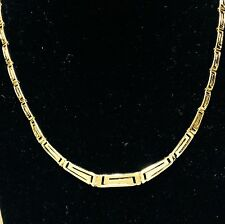 """14kt gold Graduated Greek Key Cut Out  necklace 17""""  15.5 grams"""