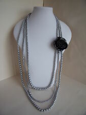 New 1920's Style Long Necklace of Silver Grey Faux Pearls & Black Rose