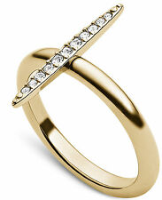 NWT Michael Kors Brilliance Matchstick Crystal Pave Ring Sz 7 Goldtone MK Pouch