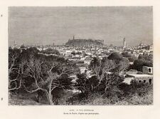 ALEP VUE GENERALE OVERVIEW SYRIE SYRIA SURRIYYAH GRAVURE 1884 ENGRAVING