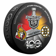 OTTAWA SENATORS vs BOSTON BRUINS 2017 Playoffs NHL 100th DUELING LOGO PUCK NEW