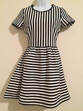 Forever 21 Fit And Flare Dress Striped Short Sleeves Exposed Zip Back Small