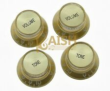 4x Guitar Reflector Knobs Gold/Gold Top Hat Knobs Fits Les Paul Epiphone SG