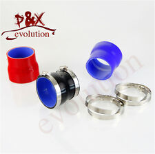 "2.25"" to 2.5"" Straight Reducer Silicone Turbo Hose Coupler 57-64mm+Clamps Black"