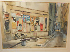 signed Jack Randall Watercolour , Continential Street Scene    ref 796