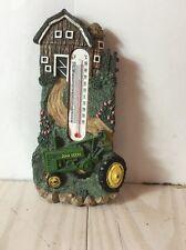 John Deere Resin Handpainted Thermometer Farm Scene