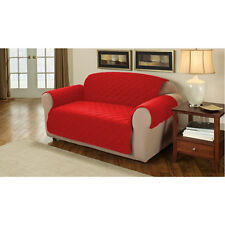 Red Quilted Cotton 2 Seater Sofa Furniture Protector Cover Slipcover Throw