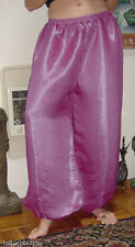Harem Pants Belly Dance Magenta Pink w/ Silver Glow