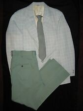 True Vintage Men's Suit Green Polyester Disco Retro Anchorman 40L 3 Piece Sears