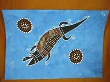 AUS-20 Crocodile blue Australian Native Aboriginal PAINTING Artwork T Morgan