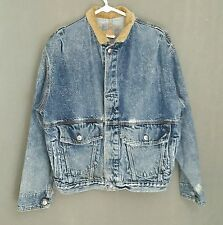 Old LEVIS Denim Jean Jacket Acid Wash Corduroy Trim S Small Destroyed Distressed