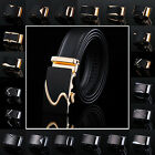 Mens Waistband Genuine Leather Automatic Buckle Belt OL Dress Waist Strap Belts