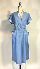 Vintage 1950's 50s Deadstock Blue Cotton Frock Dress with belt by BEAL YOUNG XL