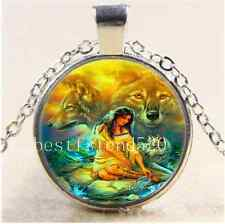 A Woman with Wolf Photo Cabochon Glass Tibet Silver Chain Pendant Necklace#2711