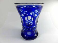 Biedermeier Becher Kobalt Handgeschliffen Überfangglas um 1850 -1860