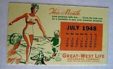 """Vintage 1948 Advertising Blotter for """"Great-West Life Assurance Co."""" Canada *"""