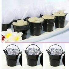 12x Mini Black Tin Pail Buckets Wedding Favour Bomboniere