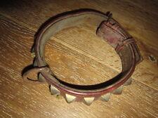ANCIEN COLLIER CHIEN CUIR ROUGE CLOU  / ANTIQUE DOG COLLAR