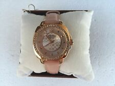 NWT COACH 14501753 MINI BOYFRIEND ROSE GOLD GLITZ PINK LEATHER WATCH