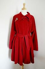 RED 1940's swagger coat 1970'S wallis CASHMERE wool VINTAGE REVIVAL 18 20 22