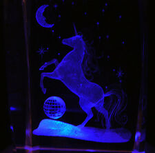 "3"" 3D Laser Etched Crystal UNICORN EARTH with Free Light Base Christmas Gift"