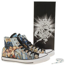 Converse Women's Pale Blue All Star Wonder Woman Hi Trainers Size UK 3,4,5,6,7,8