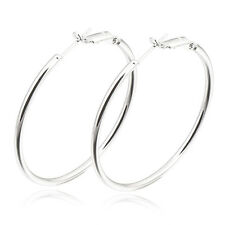 Vintage Women's 9K White Gold Filled Basketball Wives Big Hoop Earring Jewelry