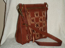 NWT Lucky Brand Dixie Studded Brandy Brown Leather Cross-body LB2052