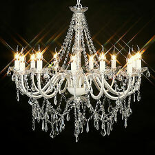 NEW LARGE 12 ARM VINTAGE VICTORIAN GLASS CRYSTAL CHANDELIER LIGHT LAMP IVORY BIG