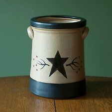 Ceramic Star and Berry Canister - Crock Utensil Holder Primitive Country Kitchen