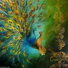 christmas gift beautiful peacock oil art painting HD printed on canvas12X12