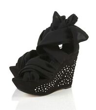New TOPSHOP WISTERIA2 chiffon tie wedges UK 3 in Black