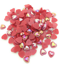 DIY 100pcs 8mm Heart-Shaped Pearl Bead Flat Back Scrapbook For Craft Red
