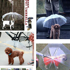 Transparent PVC Pet Puppy Dog Umbrella With Chain For Outdoor Rain Walk #D Gurad