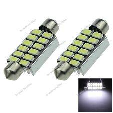 2X White 41MM 12 LED 5630 Festoon Non-polar Error Free Light Lamp Car Bulb I326
