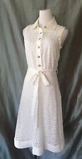 DOLCE AND GABBANA D & G CREAM COTTON EYELET LACE LOVELY COLLARED DRESS SIZE S/M