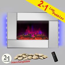"36"" Modern Wall Mount Electric Fireplace Heater 2-in-1 Pebbles Interchangeable"