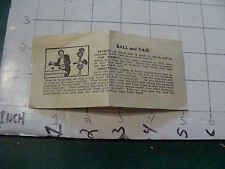 vintage paper: trick instructions only circa 1950's: BALL AND VASE