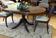 Small Elegant Mahogany Round to Oval Dining Table with Leaf