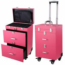 Pro Pink Makeup Rolling Case Artist Cosmetic Train PVC Jewelry Organizer Box