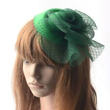 Green Lady Fascinator Hair Clip Pillbox Hat Derby Church Wedding Party Accessory