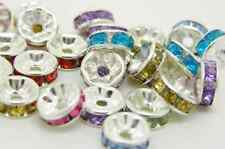50 pcs of Acrylic Silver  Plated  Rhinestone MultiColor  Beads