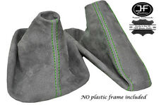 GREEN STITCH MANUAL GRAPHITE SUEDE GEAR HANDBRAKE GAITER FOR BMW E34 1988-1995
